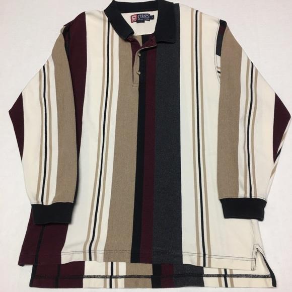 c89ff5da3e Chaps Shirts | Vintage Ralph Lauren Striped Logo Polo Shirt | Poshmark